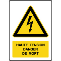 Panneau de danger vertical haute tension danger de mort