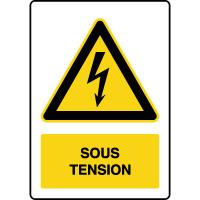 Panneau de danger vertical sous tension