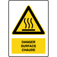 Panneau de danger vertical surface chaude