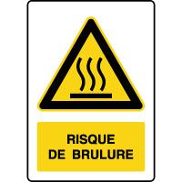 Panneau de danger vertical risque de brûlure