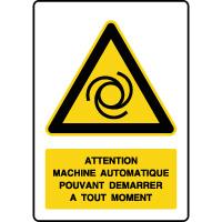Panneau de danger texte démarrage machine automatique