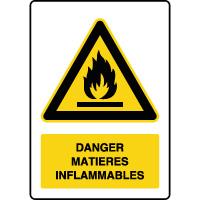 Panneau de danger vertical matières inflammables