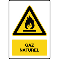 Panneau de danger vertical gaz naturel