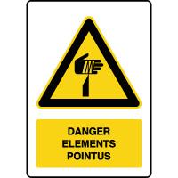 Panneau de danger vertical éléments pointus