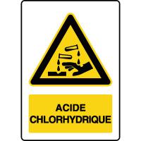 Panneau de danger vertical acide chlorhydrique
