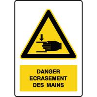 Panneau de danger vertical écrasement des mains