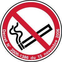 Panneau défense de fumer décret 2006