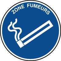 Panneau d'information rond texte zone fumeurs