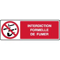 Panneau horizontal interdiction formelle de fumer