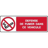 Panneau horizontal défense de fumer dans ce véhicule