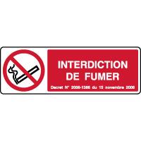 Panneau horizontal interdiction de fumer décret 2006
