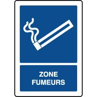 Panneau d'information vertical ISO zone fumeurs