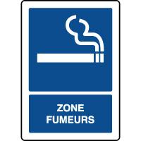 Panneau d'information vertical texte zone fumeurs