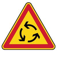 Panneau de danger temporaire carrefour à sens giratoire