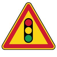 Panneau de danger temporaire feu tricolore