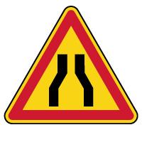 Panneau de danger temporaire chaussée rétrécie