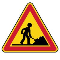Panneau de danger temporaire travaux