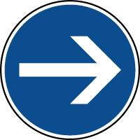 Panneau d'obligation de parking tourner à droite