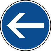 Panneau d'obligation de parking tourner à gauche
