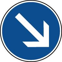 Panneau d'obligation de parking contourner à droite