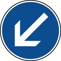 Panneau d'obligation de parking contourner à gauche