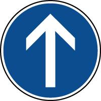 Panneau d'obligation de parking aller tout droit