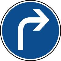 Panneau d'obligation de parking direction à droite