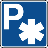 Panneau indication de parking reservé aux ambulances