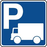 Panneau indication de parking réservé aux poids lourds