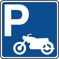 Panneau indication de parking réservé aux motos