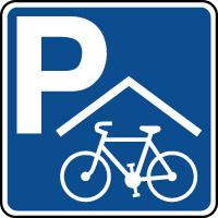 Panneau indication de parking avec abri pour cycles