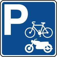 Panneau indication de parking pour cycles et moto
