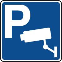 Panneau indication de parking avec vidéosurveillance