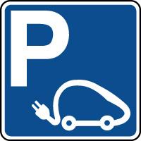 Panneau indication de parking pour voitures électriques