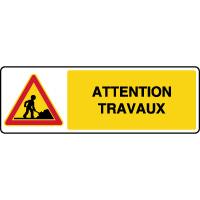 Panneau de danger temporaire horizontal attention travaux