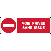 Panneau horizontal de parking voie privée sans issue