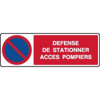 Panneau horizontal défense de stationner accès pompiers