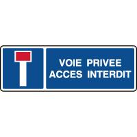 Panneau horizontal indication voie privée accès interdit