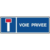 Panneau horizontal indication voie privée