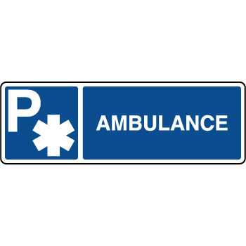 Panneau d'indication horizontal parking réservé ambulance