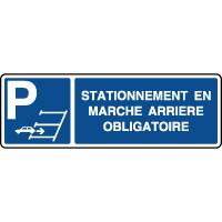 Panneau de parking horizontal stationnement marche arrière
