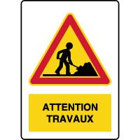Panneau de danger temporaire vertical attention travaux