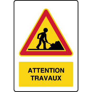 Panneau de danger temporaire vertical attention travaux