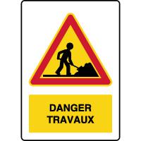 Panneau de danger temporaire vertical danger travaux