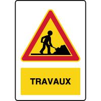 Panneau de danger temporaire vertical travaux