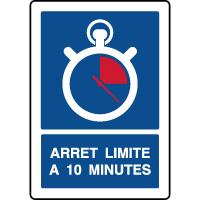 Panneau vertical indication parking arrêt 10 minutes