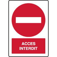 Panneau vertical d'interdiction accès interdit