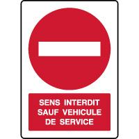 Panneau vertical parking sens interdit sauf véhicule service