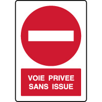 Panneau vertical de parking voie privée sans issue