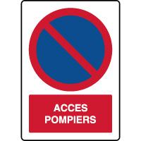 Panneau vertical stationnement interdit accès pompiers